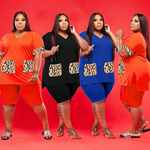 Plus Size Fashion Short Sleeve V Neck Leopard Print T Shirts Biker Shorts Loose Sportswear Two Piece Set WXY-8860