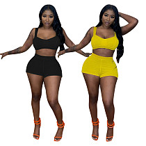 Summer Womens Tracksuits Solid Color Sleeveless Crop Top High Waist Bike Shorts Bodycon Two Piece Sets QIM-7050