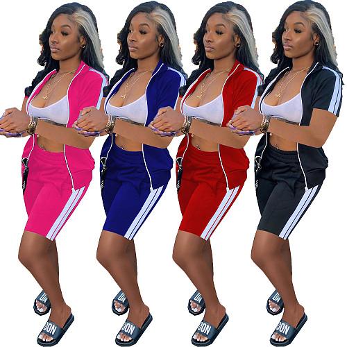 Sexy Short Sleeve Zipper Side Stripe Crop Top Elastic Waist Biker Shorts Sportswear Summer Solid 2 Piece Set XY-9106