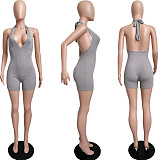 Sexy Bodycon Sleeveless Solid Knitted Women Ribbed Halter Bandage V-Neck Open Back Yoga Romper MIL-237