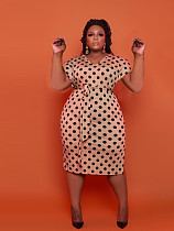 Plus Size Womens New Polka Dot Elegant Short Sleeve V Neck Party Bodycon Sheath Pencil Dresses TB-5291