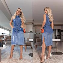 2021 Vintage Summer Plus Size Slim Sleeveless Patchwork Single Breasted Women Bandage Denim Dresses LX-6897