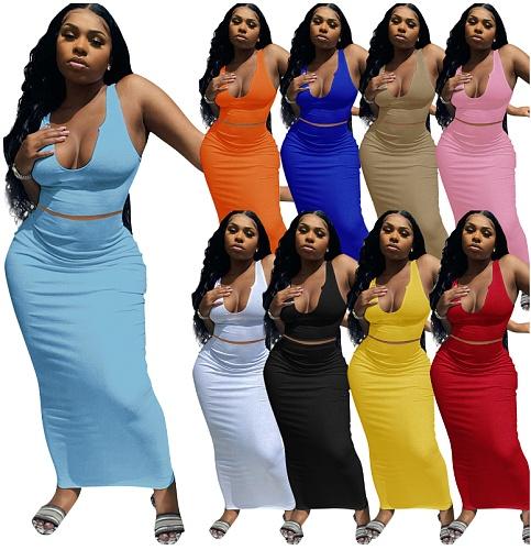 Solid Color Sleeveless Elastic Casual Sexy Bodycon Deep V Neck Women Vintage Strap Long Pencil Dresses ME-812