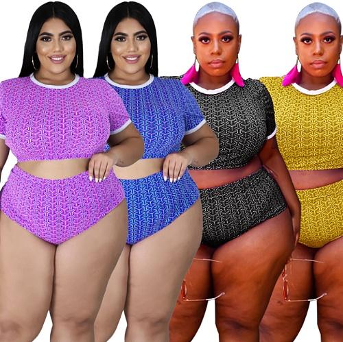 Plus Size Women Swimsuit Printed O-neck Short Sleeve Crop Top High Waist Briefs Summer Beach 2 Piece Bikini Set OSS-21106