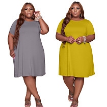 Solid Color Women Elegant A-line Short Sleeve Crew Neck Loose Stretch Lounge Wear Summer Plus Size Dress TCX-079