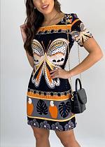 Women O Neck Short Sleeve Butterfly Pattern Print Bodycon Clubwear Casual Stretchy T Shirt Pencil Dress KDN-2188
