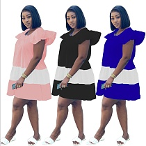 Women Summer Patchwork O-Neck Cascading Ruffles Loose A-Line Short Sleeve Classic Streetwear Midi Dress MEI-9187