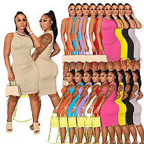 Women Sleeveless Elastic Solid Color Cotton Ruched Drawstring Sexy Bodycon Summer Club Wear Party Dress IV-8230