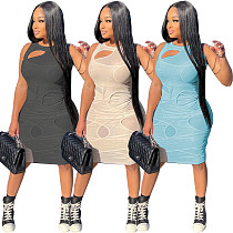 Plus Size Women 2021 Summer Solid Sleeveless O Neck Hollow Out See Through Mesh Bodycon Club Party Dress CQ-126