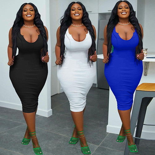 Plus Size Solid Color Women Sleeveless V Neck Bodycon Sexy Party Club Summer Clothes Package Hip Midi Dress LP-6298