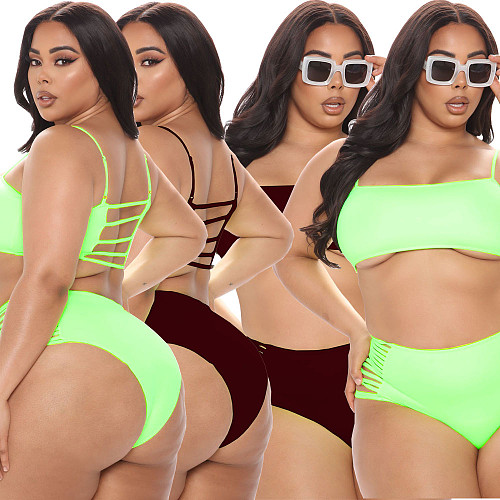 Womens Lingerie Open Crotch Swimsuit Solid Color Short Sleeve Crop Top Hole Briefs Two-piece Bikini Set CQ-123