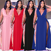 Fashion Deep V Neck Solid Color Sleeveless Sexy High Slit Women Elegant A-Line Plus Size Maxi Long Dress WA-7205