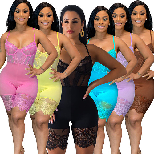 XS Sexy Women Solid Color Lace Stitching Sleeveless Spaghetti Strap Low Cut Bodycon Corset Lingerie Bodysuit OSM-5250