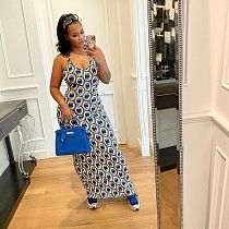 2021 Summer Fashion Print Halter Neck Backless Mid Waist Women Clubwear Elegant Skinny Maxi Long Dress MENS-8039