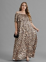 Plus Size Summer Leopard Print Off The Shoulder Short Sleeve Loose Party Club Holiday Maxi Long Dresses TB-5245