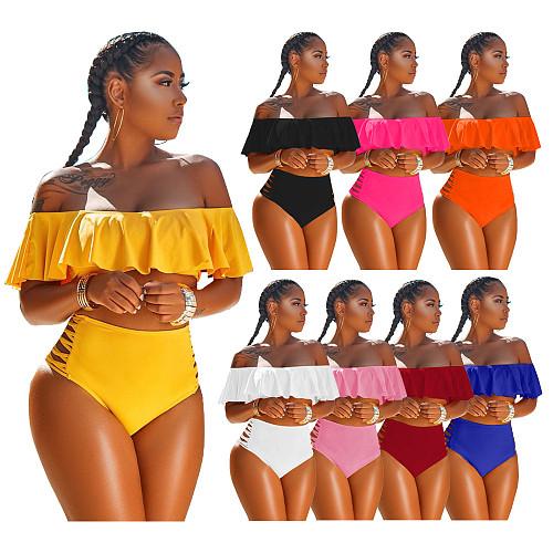 Women Sweet Sexy Solid Color Off Shoulder Ruffle Short Sleeve Crop Tops Hole Briefs Swimwear 2 Piece Set HGL-882