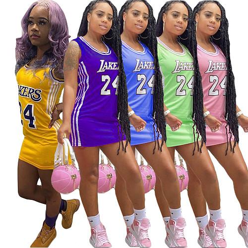 Women Fashion O Neck Sleeveless Sheath Letter Print Side Stripes Casual Sports Basketball T-Shirt Mini Dress CN-0144