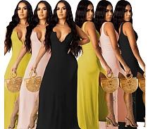 Elegant Women Solid Color Sleeveless Deep V Neck High Slit 2021 Summer Sexy Maxi Long Party Dress KSN-06002