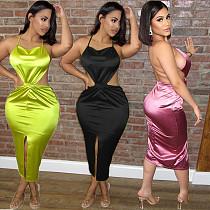 2021 Summer Solid Color Satin Women Halter Backless Bandage Elegnat Bodycon Split Nightclub Maxi Dress BN-9285