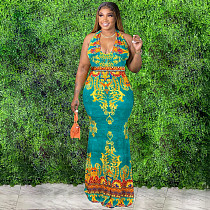 Plus Size Summer Sexy Vintage Print Sleeveless Halter Neck Backless Night Club Party Long Maxi Dresses HB-4030