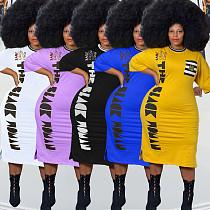 Plus Size Women Casual Pattern Print Half Sleeve Round Neck Streetwear Loose Tee Shirt Maxi Long Dress YFS-10007
