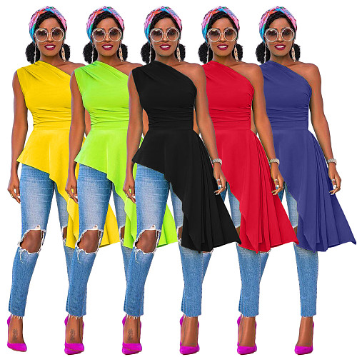 Fashion Solid Color One Shoulder Skew Neck Sleeveless Sexy Night Party Irregular Ruffles Bodycon Top XMY-9296