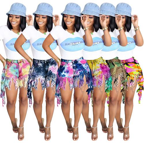 2021 Summer New Fashion Women Street Hipster Stretch Mid Waist Tie Dye Long Tassel Denim Shorts SH-3845