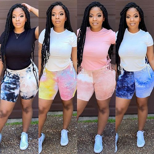 Summer Sexy Women Clothes High Waist Fitness Gym Outfits Ladies Push Up Tie Dye Biker Shorts YJ-8389