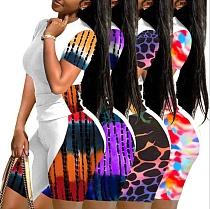 Fashion Tie Dye Print Short Sleeve T-Shirt Biker Shorts Summer Active Wear Plus Size 2 Piece Set TB-5296