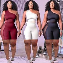 Sexy Mesh Patchwork Women Solid Color One Shoulder Sleeveless Crop Top Biker Shorts 2 Piece Set HT-6073
