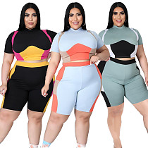 Women Plus Size Set Patchwork Short Sleeve Crop Tops Stretchy Shorts Tracksuit Summer Two Piece Outfits XY-9108