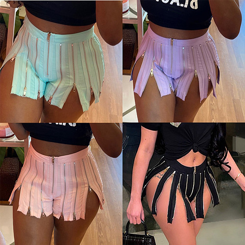 Summer Casual Womens Clothing Sexy Solid Color Zipper Patchwork High Waist Stretchy Clubwear Shorts YF-9917