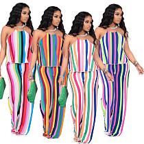 Fashion Color Striped Printing Women Plus Size Halter Sleeveless Crop Tops Loose Pants Summer 2 Piece Set YIM-193