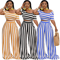 Women Clothing Plus Size Striped Short Sleeve Crop Tops Wide Leg Pants Summer Outfits 2 Piece Set XMY-9310