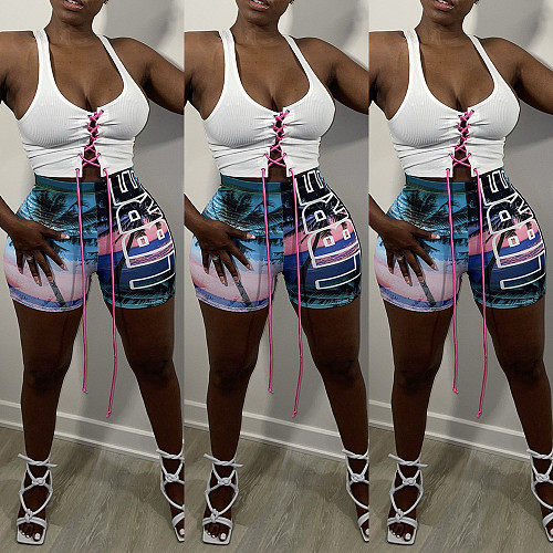 Women Clothing Summer Casual Print Elastic Waist High Waist Beach Holiday Bodycon Shorts WSY-5886