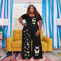 Plus Size Women's Butterfly Print Short Sleeve T Shirt Tops Loose Wide Leg Pants Summer Casual 2 Piece Set HB-4032