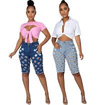 Summer Fashion High Streetwear Hole Ripped High Waist Casual Zipper Fly Women Knee Length Jeans YIS-860