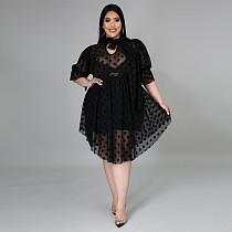 Plus Size Dot Print Summer Women Mesh See Through Half Sleeve Lace Up O Neck Loose Irregular Midi Dress XQY-1582