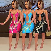 2021 New Women Hollow Out Sleeveless Printed Spaghetti Straps V-Neck Nightclub Party Midi Dress  YZL-851