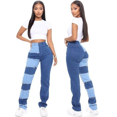 Summer Women Clothing Retro Sexy Patchwork Street Skinny High Waist Push Up Jean Denim Pants YYUAN-6606