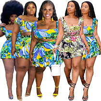 Plus Size Sexy Tropical Floral Print Ruffle Mini Skirts Sleeveless Crop Top Summer Vacation Two Piece Set ASL-6383