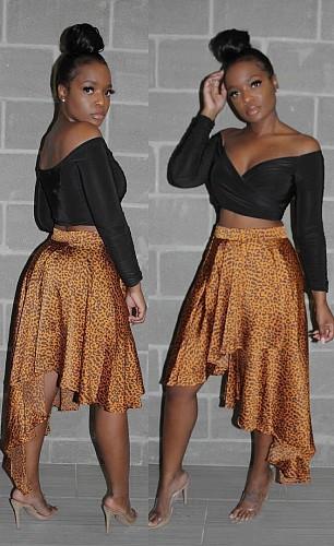 Sexy Summer Women Clothing Irregular Leopard Print High Waist Cocktail Party Ruffles Short Skirt LM-8266