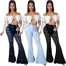 Summer Fashion Women's Clothing High-waist Slim-fit Streetwear Ripped Hole Zipper Flared Jeans LA-3273