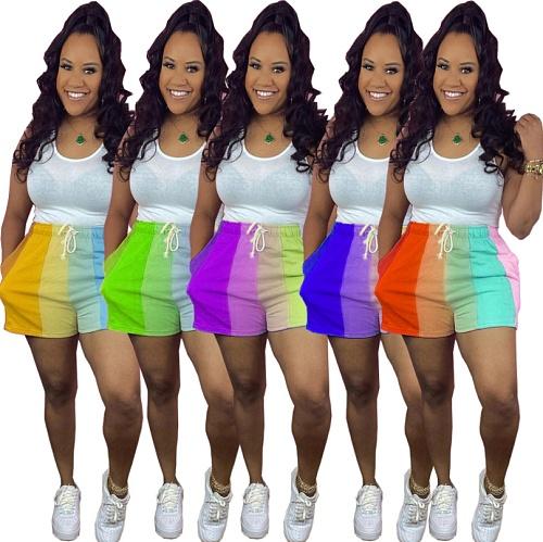 Women Clothing Casual Rainbow Striped Print Summer Sportswear Drawstring Loose Mid Waist Shorts CQ-133
