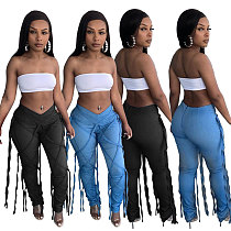 Summer Outfits Women Vintage Clothes Bodycon Bandage Low Waist Streetwear Night Club Jeans MTY-6522