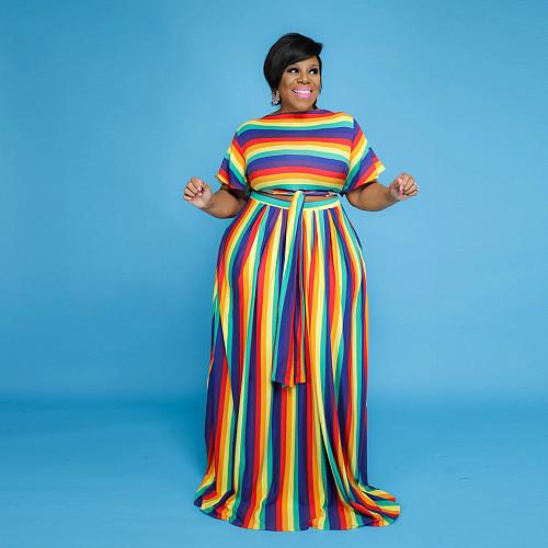 Fashion Rainbow Stripes Print Streetwear Short Sleeve V Neck Crop Tops Maxi Skirt Plus Size 2 Piece Set JLY-19207