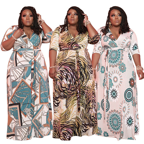 Summer 2021 Plus Size Half Sleeve V Neck High Waist Knitted Lace Up Women Loose Fit Long Maxi Dress OSS-21116