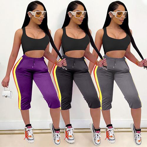 Summer Women Clothing Side Striped Elastic High Waist Sport Skinny Drawstring Calf Length Trousers QINGS-51006