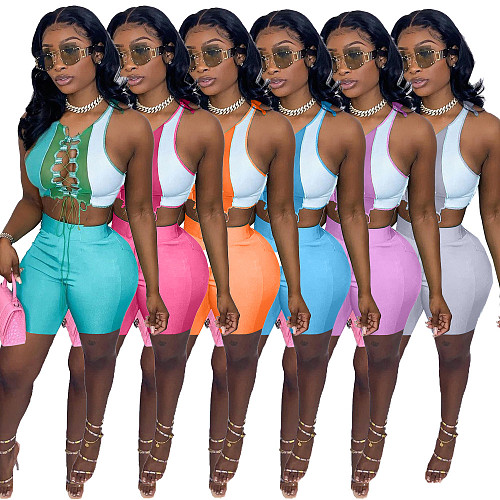 Women Suit Summer Color Patchwork Cut Out Lace-up Crop Tops Biker Shorts Streetwear Sexy 2 Piece Set NM-8361