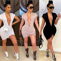 Women Fashion High Waist Cleavage Package Hip Solid Deep V Neck Short Sleeve T-shirt Slim Midi Dress CHY-1340